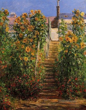 Claude Monet Painting - The Steps at Vetheuil Claude Monet